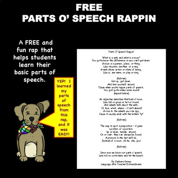 FREE Parts Ó Speech Rappiń helps students learn basic parts of speech