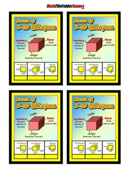 Parts of 3D Shapes = Poster/Anchor Chart with Cards for Students Math Journals