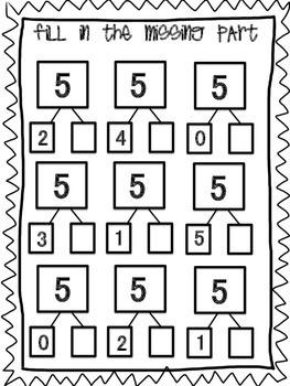 Number Bonds- Parts of 5
