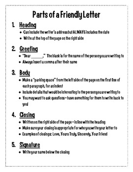 Parts of A Friendly Letter Handout by Third Grade with HK | TpT