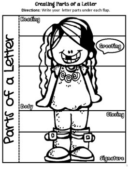 Parts of A Friendly Letter- Interactive Notebook (k-2nd)