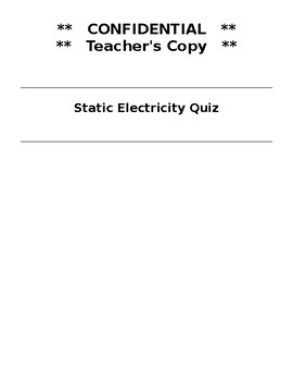 Parts of Atom and Static Electricity answer key