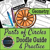 Parts of Circles Doodle Guide & Practice Worksheet; Area,