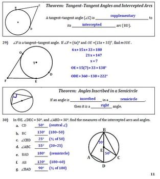 Parts of Circles (Segments-Arcs-Angles) Guided Notes for ...