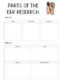Parts of Ear Research Record Sheet