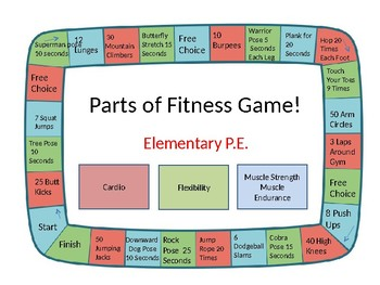 Parts of Fitness Board Game NEW!