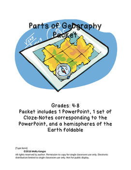 Parts of Geography PowerPoint and Interactive Notebook Foldable