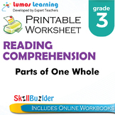Parts of One Whole Printable Worksheet, Grade 3