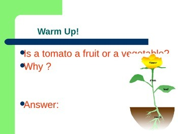 Parts of Plant Thematic Powerpoint for ESL / ELL