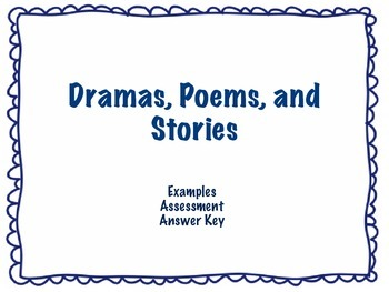 Parts of Poems, Dramas, and Stories- Examples and Assessments