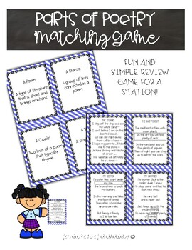 Parts of Poetry Matching Game