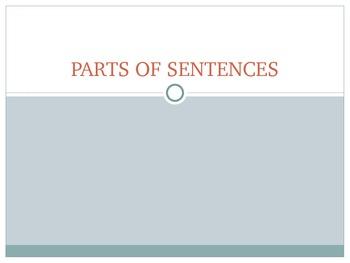 Parts of Sentences Power Point