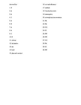 Parts of Sentences Test