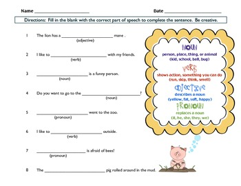 Parts of Speech - Nouns, Verbs, Adjectives, and Pronouns