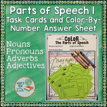 Parts of Speech 1 Task Cards and Color by Number Answer Sh