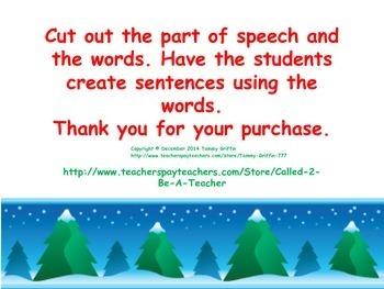 Christmas Parts of Speech