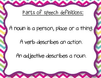 Parts of Speech: Task Cards