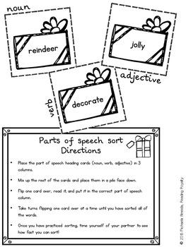 Parts of Speech - 2 Christmas themed activities! $1 Deal