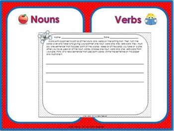 Nouns and Verbs ~ Parts of Speech Games