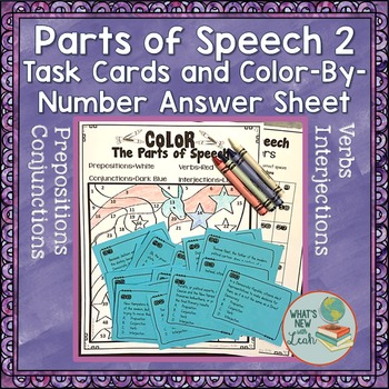 Parts of Speech 2 Task Cards with Color By Number Answer Sheet: Election Theme