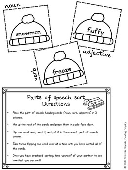 Parts of Speech - 2 Winter themed activities! $1 Deal