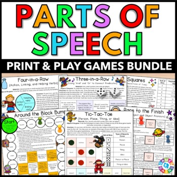 Parts of Speech Games Bundle {Nouns, Verbs, Adjectives, Adverbs, Pronouns...}