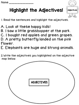 Parts of Speech Worksheets BUNDLE: Nouns, Pronouns, Verbs, Adjectives, Adverbs