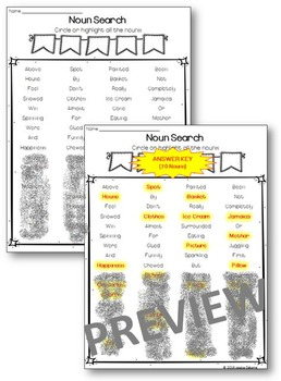 Parts of Speech Search Game Sheets