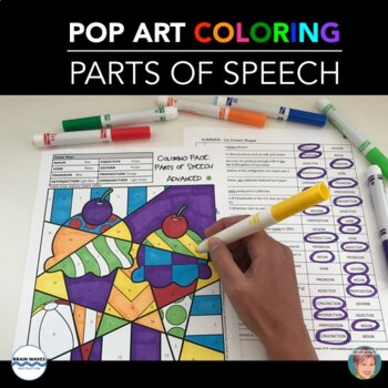 Parts of Speech Coloring -  Great Spring Activity, Summer Activity and All Year!