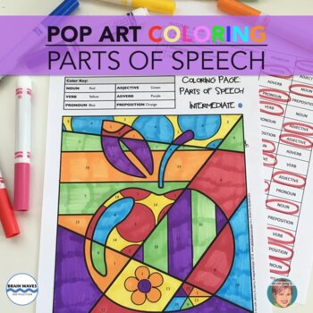 PARTS OF SPEECH Coloring ALL YEAR Collection (w/ Winter & Valentines Day images)