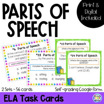 Parts of Speech Task Cards Set #2