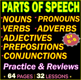 Parts of Speech | 32 Grammar Lessons | Worksheets | Review