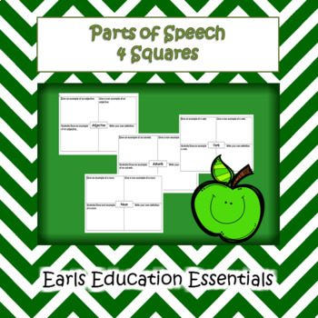Parts of Speech 4 Squares