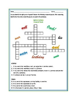 Parts of Speech: A Crossword Puzzle