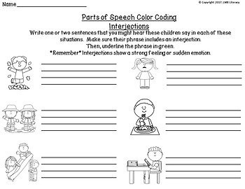 Parts of Speech Activities-Color Coding and Cut & Paste