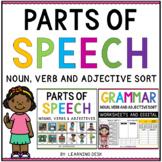 Grammar Parts of Speech Worksheets Noun Verb Adjective First Second Grade