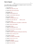 Parts of Speech Activity and Practice Answer Key