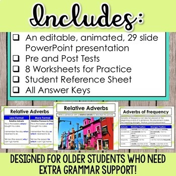 Adverbs: PowerPoints, lessons, activities, tests