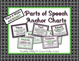 Parts of Speech Anchor Charts Black & White & Bright