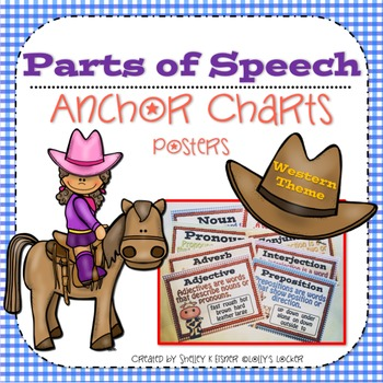 Parts of Speech Anchor Charts / Posters Western Theme