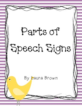 Parts of Speech Anchor Signs