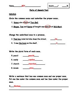 Parts of Speech Assessment Pack