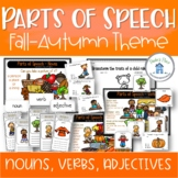Parts of Speech Autumn and Fall Theme Nouns Adjectives Verbs