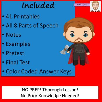 Parts of Speech Avengers Lesson Plan