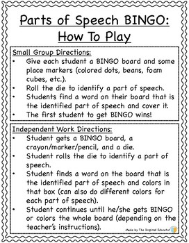 Parts of Speech BINGO