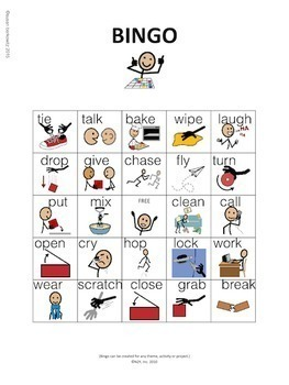 Parts of Speech BINGO - Verbs - speech therapy, special education