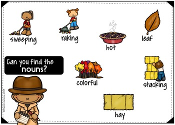 Parts of Speech BOOM CARDS (Nouns, Verbs, Adjectives) FALL THEMED
