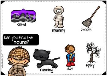 Parts of Speech BOOM CARDS (Nouns, Verbs, Adjectives) HALLOWEEN THEMED