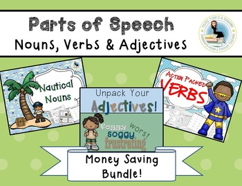 Parts of Speech BUNDLE Nouns, Verbs, and Adjectives Lesson Plans
