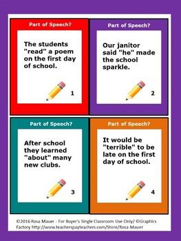 Back to School Parts of Speech Activities